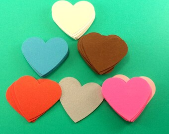 Paper Hearts, Heart Punchouts, Die cut Hearts, Heart Confetti, Multicolored Paper Hearts, Favors, Gift Tags Gift Wrap