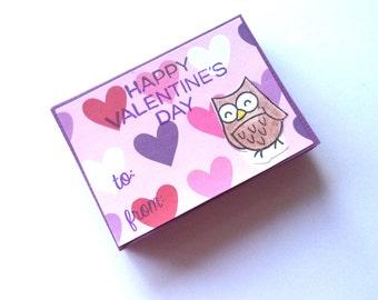 Owl Valentine's Day Cards, Happy Valentine's Day Cards, Children's Valentines, Classroom Set Valentine Cards, Owls, Bird Valentines