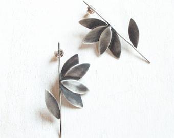 contemporary jewelry,  oxidized  silver earrings, statement earrings, modern bride earrings, handmade silver oxidized jewelry,