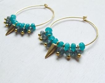 Northern lights earrings, hoop earrings, minimalist jewelry, everyday hoop earrings, golden earrings, lightweight hoop
