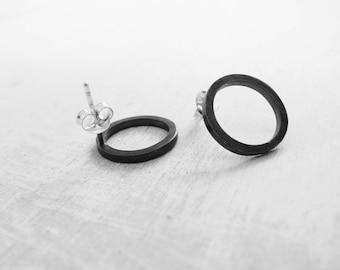 Black Friday Sale, Minimalist earrings, black stud earrings, circle studs, mens earrings, everyday earrings, black earrings