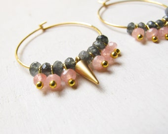 Classy hoop earrings, Gold earrings, unique hoop earrings, Pink and gray, daily jewelry, gift under 50, Christmas gift, bridesmaid gifts