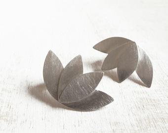 BLACK FRIDAY SALE, Silver Contemporary earrings, Geometric Flower, handmade, Lotus stud earrings, sterling silver jewelry, brass jewellery,