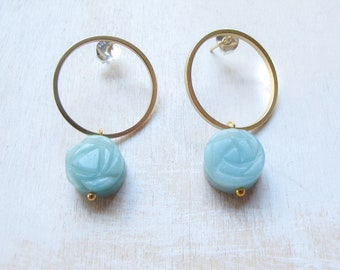 Amazonite Gold earrings, Throat Chakra earrings, Healing Jewelry, Geometric Round earrings, Feng Shiu jewelry, Gold stud hoop earrings