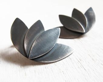 Contemporary earrings, Geometric Flower, handmade, Lotus stud earrings, sterling silver jewelry, brass jewellery,