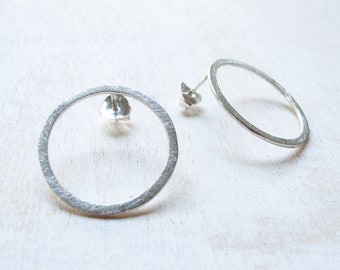 925 sterling Silver Circle stud earrings, Timeless Everyday Hoop stud earrings, Earrings set