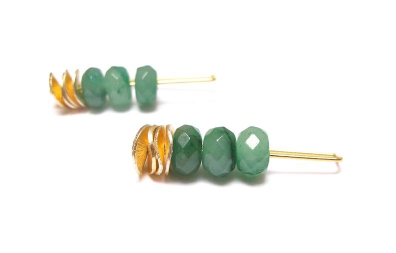 2969449d2c4c Pendientes dorados de colgar con Jade verde natural