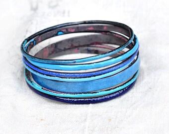 Blue Shades Bangle Set - Handmade Enamel Bracelets