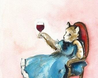 Art de chat, vin-«A Hard Day» - impression aquarelle de chat, hôtesse, amateur de vin, divertissant