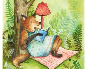 Un livre et une forêt - reproduction d'aquarelle - renard art, livre de lecture de renard