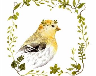 Bird Art, bird watercolor, bird print Goldfinch Portrait - Archival Print of original watercolor - nursery art, bird lover, bird watercolor