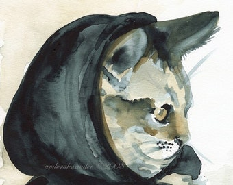 cat art- little Inky Riding hood print of watercolor