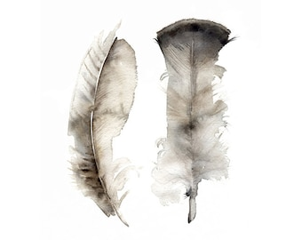 Feather painting, feather art, feather watercolor art print-Turkey Feathers print of original watercolor painting