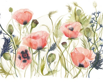 Poppies and Grasses watercolor- Print of Original Watercolor
