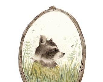 "Nursery art, Nursery Decor, Woodland Nursery, Nursery watercolor,Raccoon,woodland animal, raccoon art, baby's room ""Loretta"""