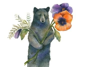 Bear with Pansies  watercolor print - Bear Art