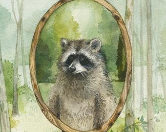 Portait in the Woods print - Raccoon watercolor print
