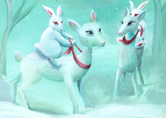Whimsical Christmas cards, holiday cards, cute christmas cards, bunny christmas cards, holiday cards, greeting cards- Bunny Races