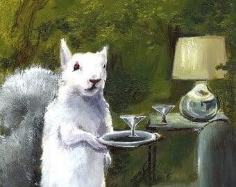Squirrel Art, White Squirrel print, Albino Squirrel Art, squirrel with martini
