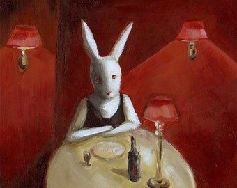 "White Rabbit -""Stood Up""- wine lover, red wine, art"