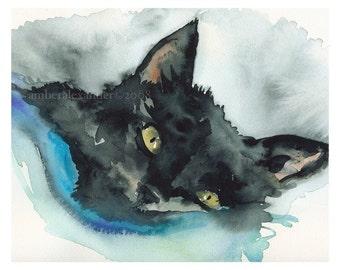 """Black Cat Watercolor - """"Nutcase Tucked In"""" Archival Print"""