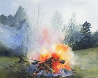 Bonfire - Print of watercolor