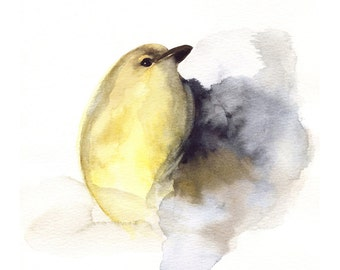 "bird art,  bird painting, print, watercolor, home, minimalist, white ""Coal""  -  bird art"
