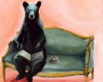 Black Bear Byron Print, bear reading book, bear on couch