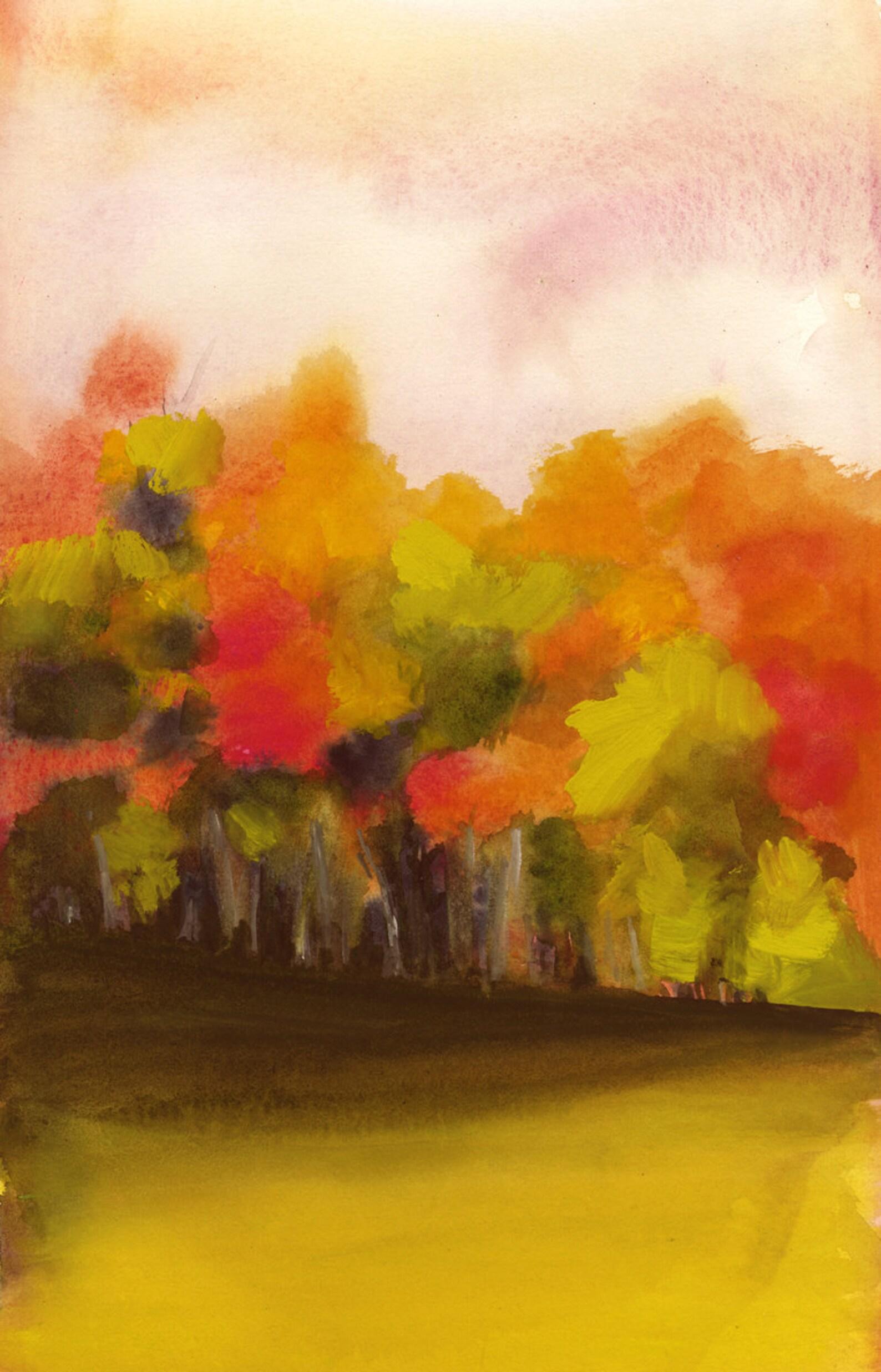Осень рисунок акварелью по сырому