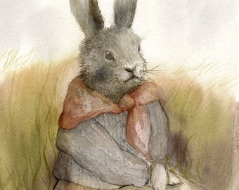 """Rabbit Art- Rabbit painting, watercolor rabbit  """"The Highlands""""-  print - Illustrious Forest Collection"""