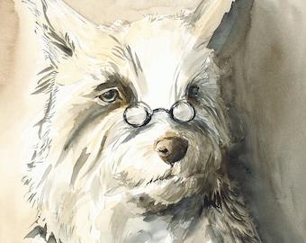 dog art-Paul- large archival print- terrier, men, bookish