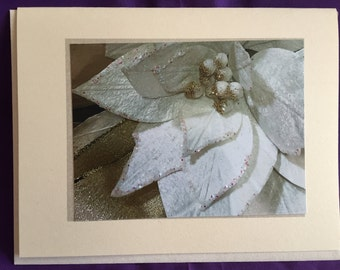 White Silver Floral Photo Blank Note Card