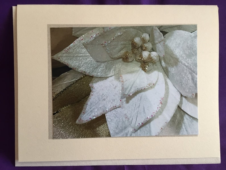 White Silver Floral Photo Blank Note Card image 0