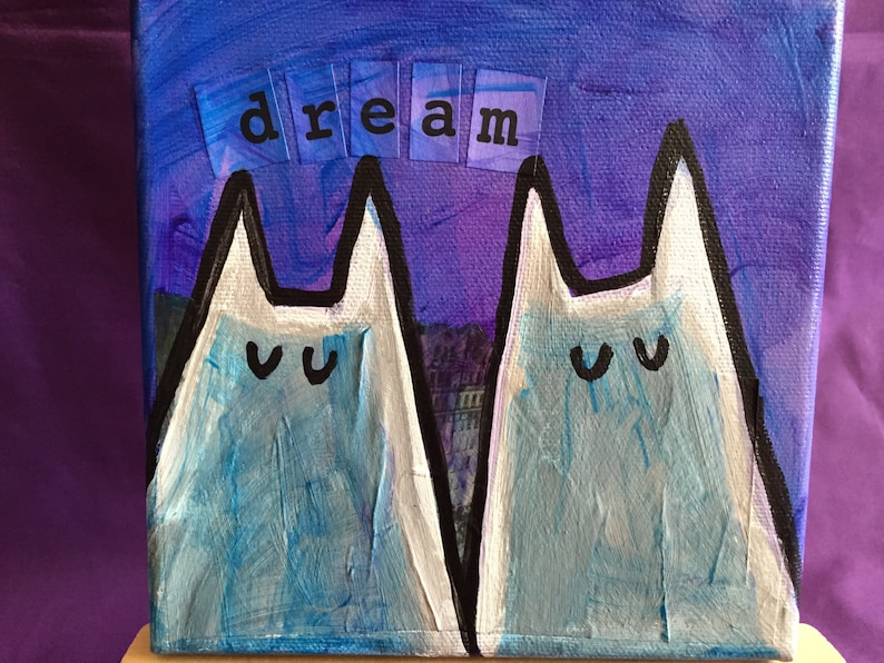 Twin Cat Dream Painting 6x6 image 0