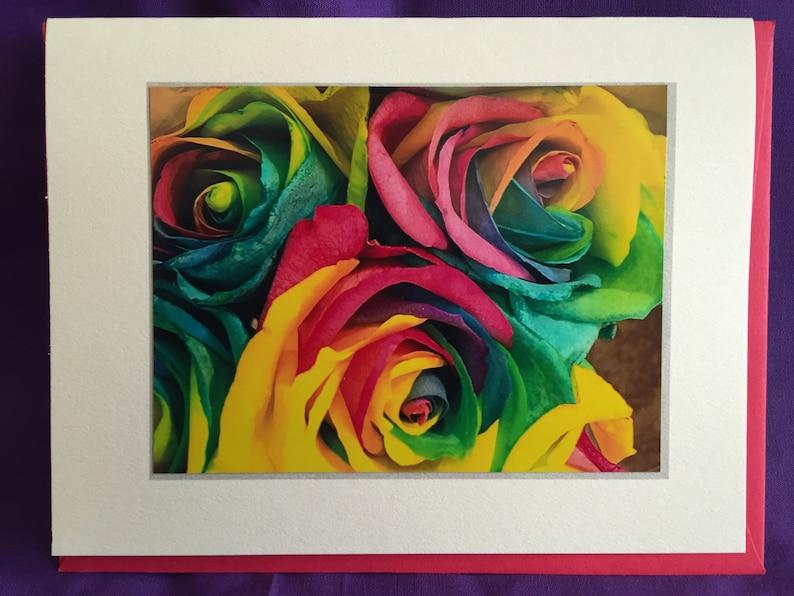 Rainbow Roses Photo Blank Note Card image 0