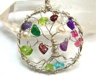Family Tree necklace pendant - Genealogy Tree of Life gemstone birthstone gift for mother mom grandmother personalized gift Sterling Silver