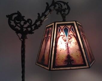 Bridge lamp shade etsy uno hex mica bridge shade for your antique vintage floor lamp aloadofball Image collections