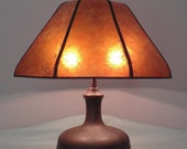 Arts and Crafts Hammered Copper Lamp 1930 39 s Vintage Antique with NYM Arts Mushroom Mica Shade with NYM Arts Gas Port Top