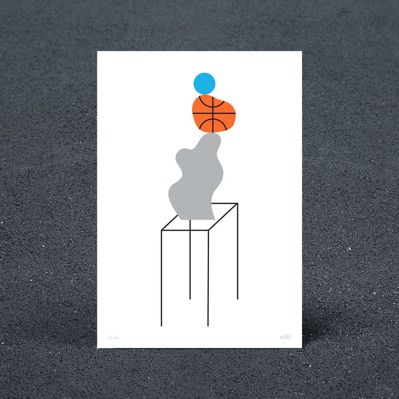 Ball on Basketball on Rock Screen Print image 0