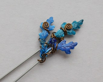 f8af3f0a2 Oak Leaves Hair Pin, Shawl Pin, Scarf Pin -- Blue, Purple, Teal Leaves,  Antique Brass Wire Spirals, Swarovski Crystal, Enchanted Leaves