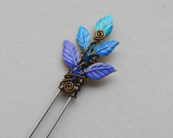 df2a1d3ae Enchanted Leaves Hair Pin -- Blue, Purple Leaves, Brass Wire Spirals, Swarovski  Crystals, Fairy Hair Pin by Silver Owl Creations