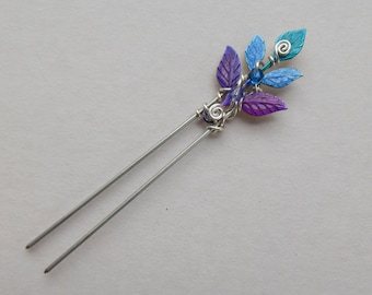 475e70936 Leaves Hair Pin -- Blue, Purple, Teal Leaves, Silver Wire Spirals, Swarovski  Crystals, Fairy Hair Pin, Enchanted Leaves by Silver Owl