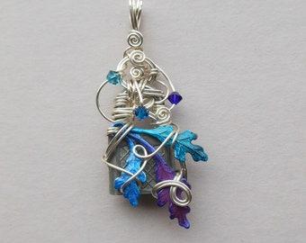 42a769cd9 Enchanted Oak Leaves Lock Pendant -- Blue, Purple, Teal Hand Colored Oak  Leaves, Antique Lock, Swarovski Crystals