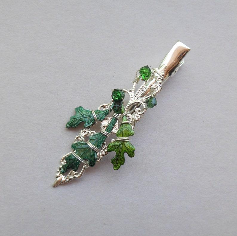 Green Oak Leaves Silver Filigree Alligator Clip -- Silver Filigree Hair  Clip, Oak Leaves, Swarovski Crystals, Wedding Hair Clip, Elf Jewelry