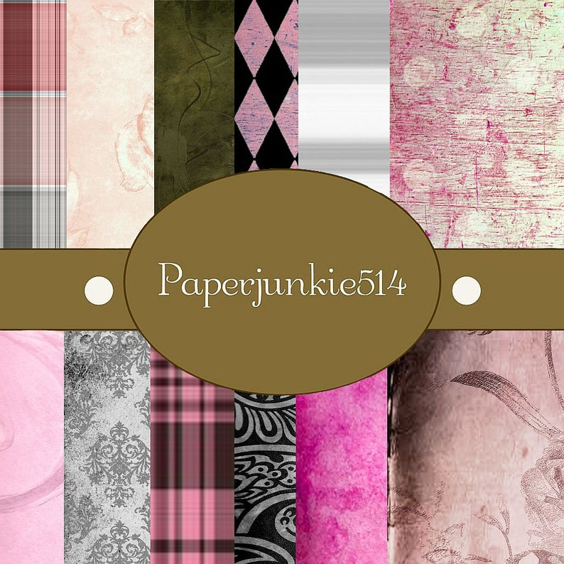 Digital Scrapbook Papers BUY Any 3 Three Dollar Digital Items Get 1 Free 12x12 Pink and Black Grunge