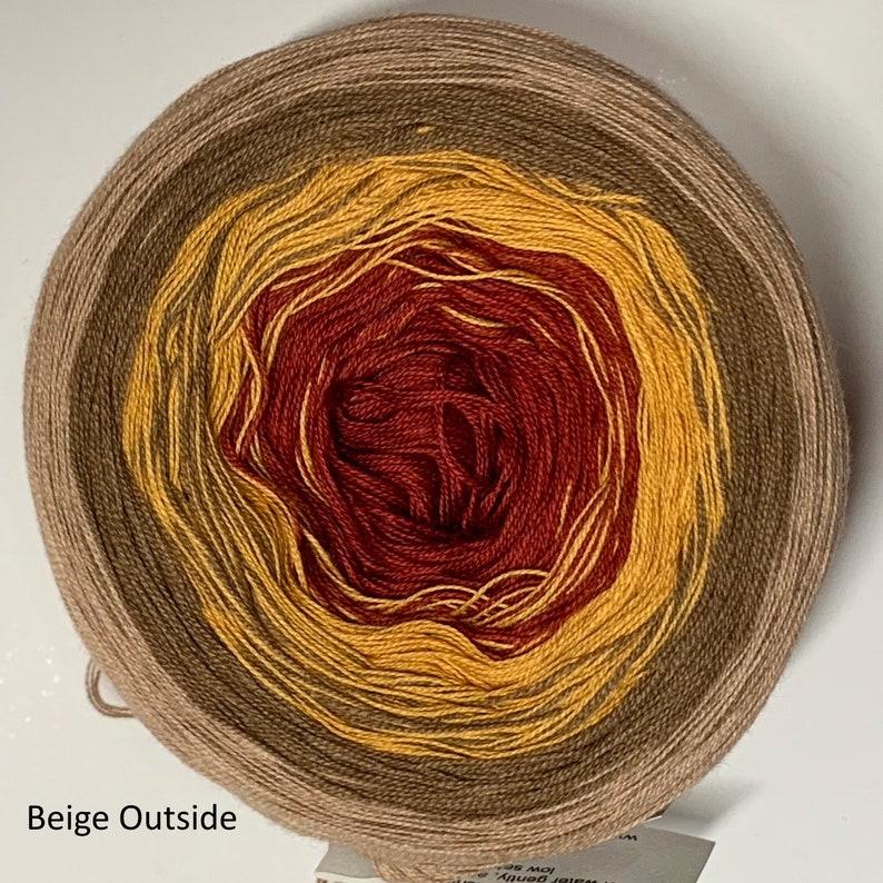GT gradient tied cotton 3-stranded 100g light fingering Autumn Beige Outside