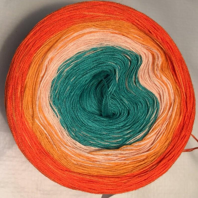 GT light fingering 3-stranded gradient tied cotton 100g Orange outside