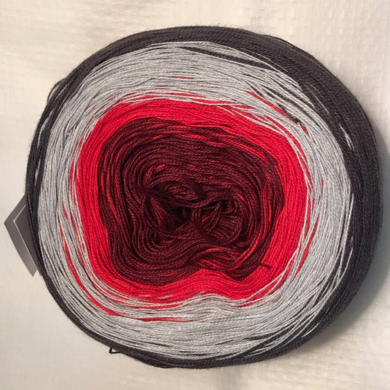 GT gradient tied cotton 100g 3-stranded light fingering Wine Charcoal outside