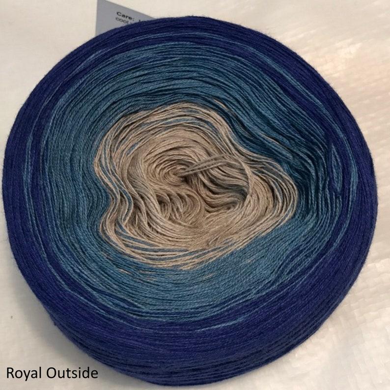 GT gradient tied cotton 3-stranded 100g light fingering Blue Royal Outside