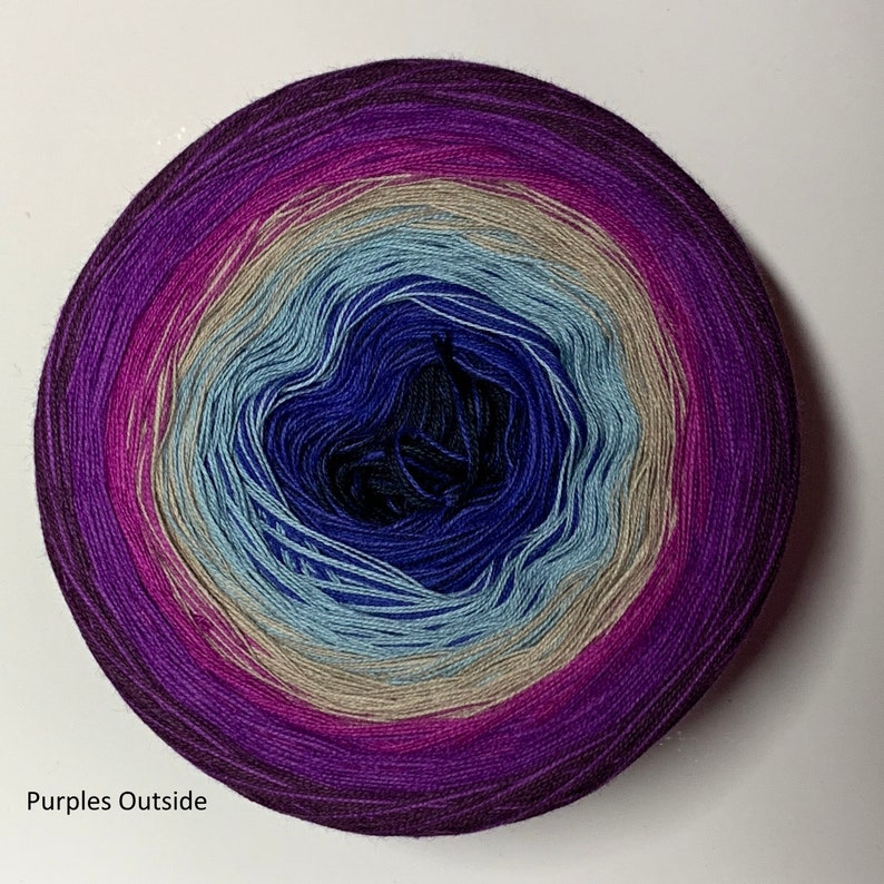 GS/IGS Gradient Speckle tied 4-stranded Cotton Frisson IGS- Purples outside